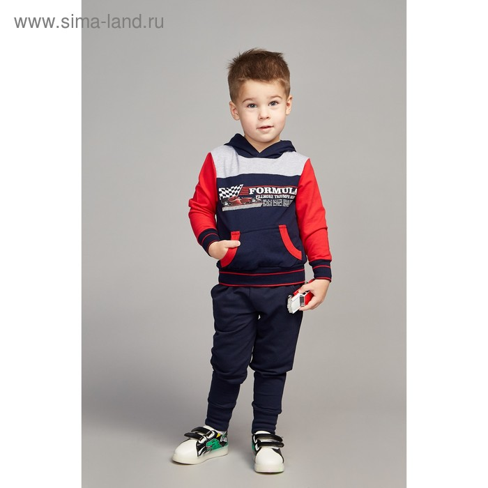 """Джемпер для мальчика """"Формула"""", рост 86 см (48), цвет тёмно-синий/красный ПДД287258_М"""