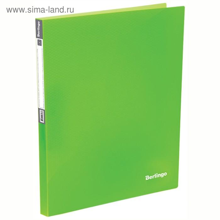 Папка на 4-х кольцах А4, 25мм, 700мкм Berlingo Neon, неоновая зеленая 239875