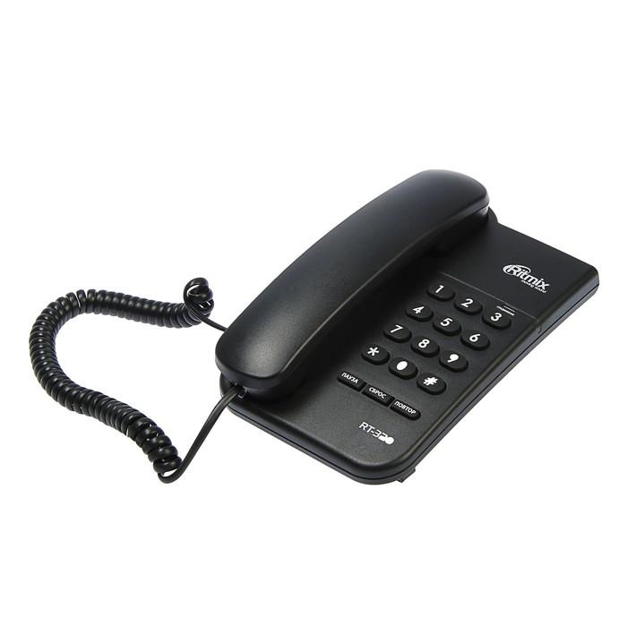 Проводной телефон Ritmix RT-320, световой индикатор, настольно-настенный, черный
