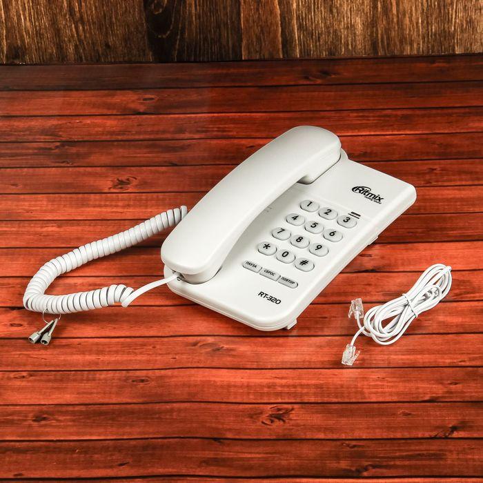 Проводной телефон Ritmix RT-320, световой индикатор, настольно-настенный, белый