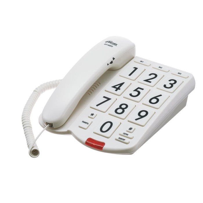 Проводной телефон RITMIX RT-520, световой индикатор, настольно-настенный, слон.кость