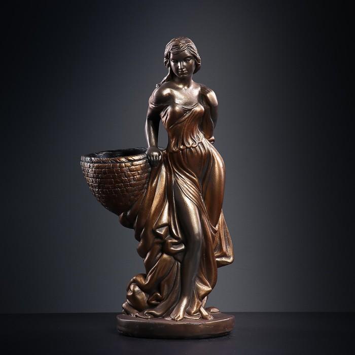 """Фигура с кашпо """"Девушка с корзиной"""" бронза 64см"""