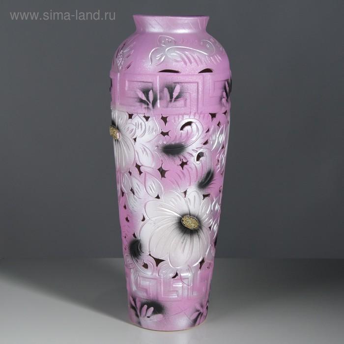 "Ваза напольная ""Арго"" резная, розово-серебряная"