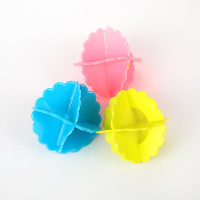 Шары для стирки, набор, d=7 см, 3 шт, цвет МИКС