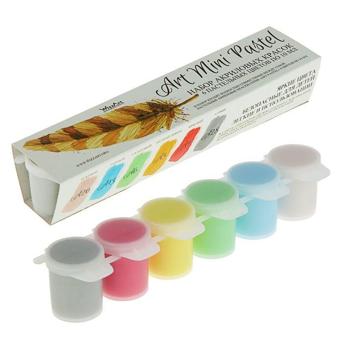 Краска акрил набор Pastel  6цв*10мл WizzArt Mini пастельные