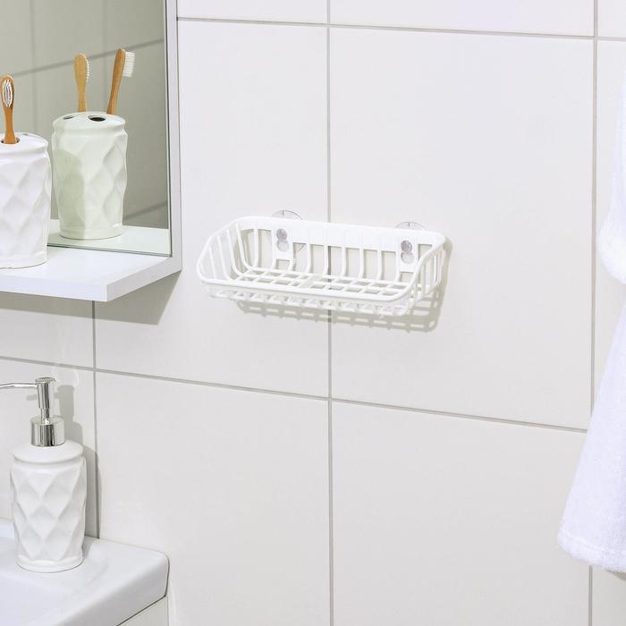 Подставка для губки и мыла на присосках, цвет белый