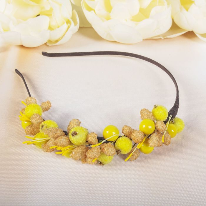 """Ободок """"Жёлтые ягоды, бежевые шишички"""" - фото 306738652"""