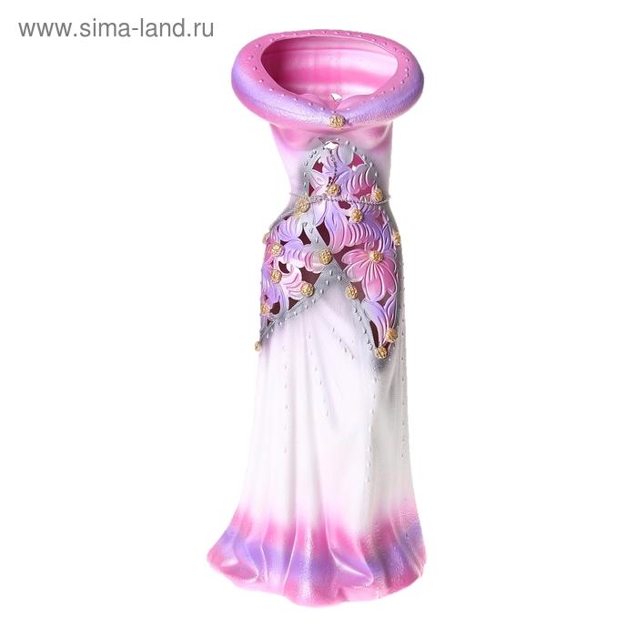 """Ваза напольная """"Платье"""" бело-розовая"""