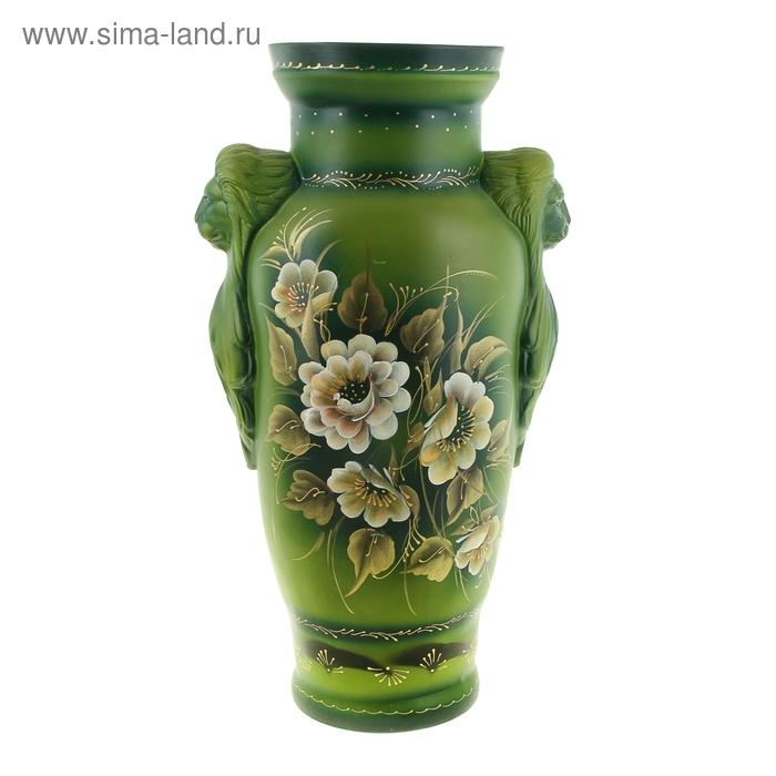 "Ваза напольная ""Дора"" акрил, зелёный, цветы"