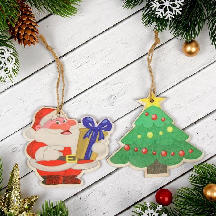 """Подвеска новогодняя с цветным принтом """"Дед мороз"""", набор 2 шт."""