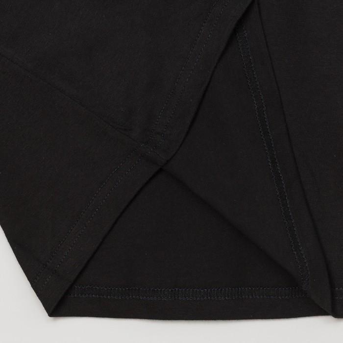 Футболка однотонная женская с V- образным вырезом, цвет черный, размер 46 (M)