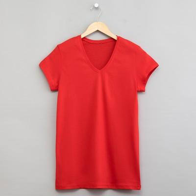 Футболка однотонная женская цвет красный, р-р 52 (XXL)