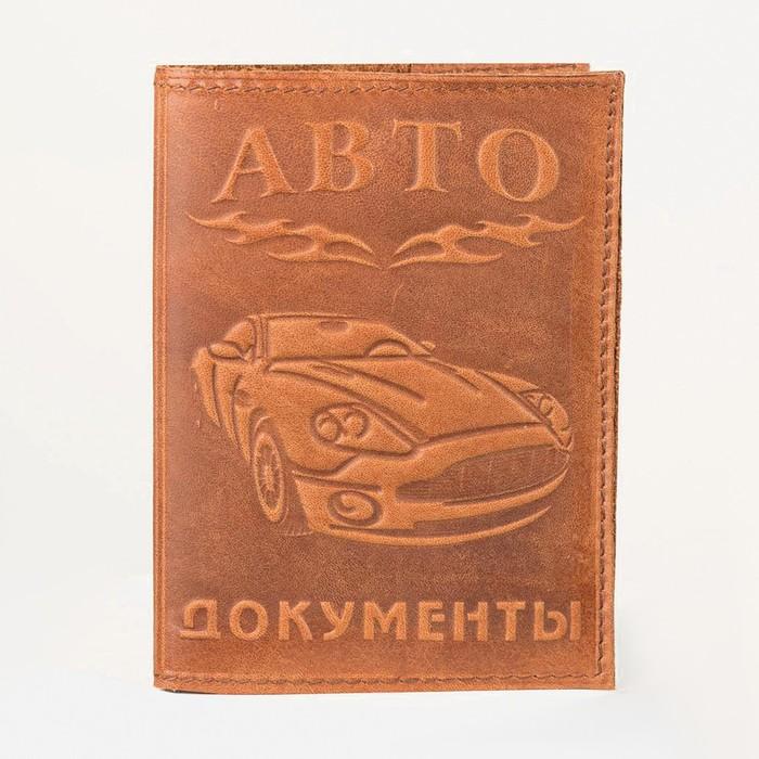 Обложка для автодокументов, тиснение, коричневая