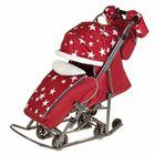 Санки-коляска «Pikate. Звёзды», цвет бордовый