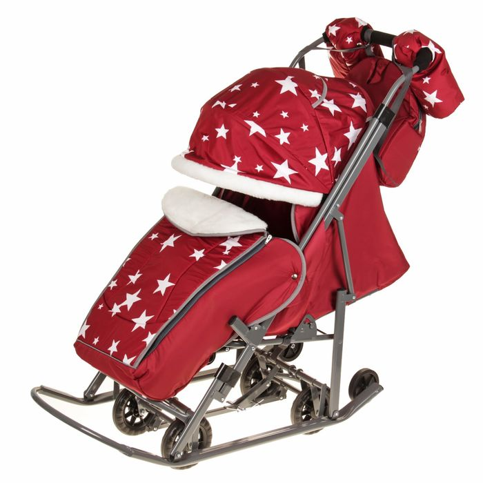 Санки-коляска Pikate Звезды, цвет: бордовый