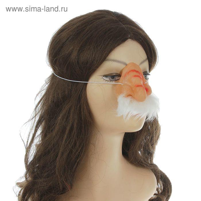 Нос с белыми усами большой на резинке