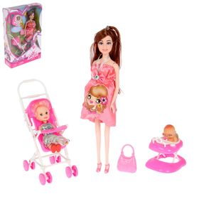 Doll model pregnant Lisa with the baby, stroller and accessories, MIX