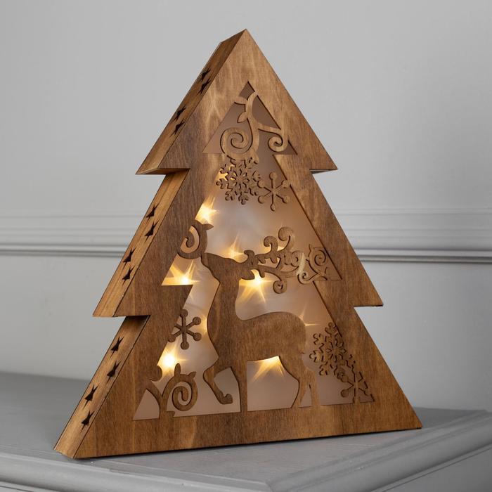 """Фигура дерев """"Елочка"""" 30х6,5х33 см (2xAA не в компл.) 10 LED, ТЕПЛО-БЕЛЫЙ"""