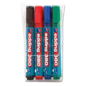 Набор маркеров для флипчарта 4 цвета 3.0 мм EDDING E-380/4S, НЕПРОПИТЫВАЮЩИЕ