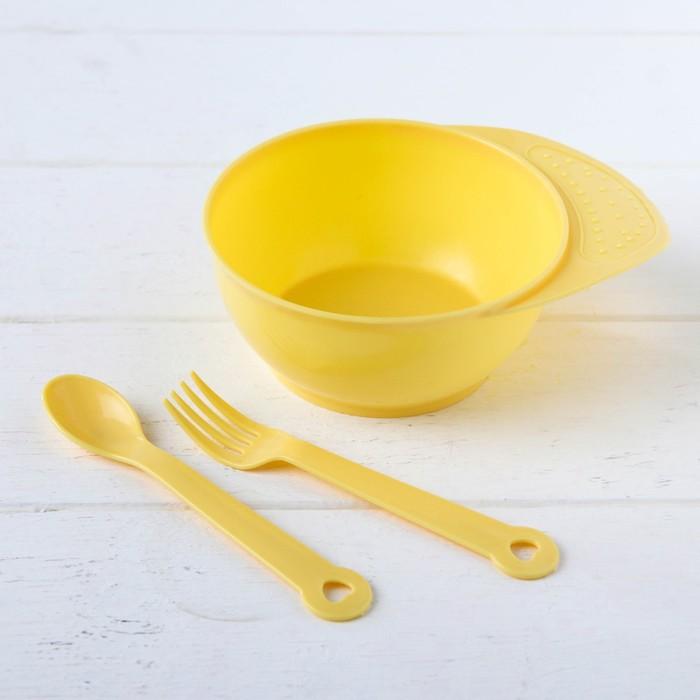 Набор детской посуды, 3 предмета: миска 350 мл, ложка, вилка, от 5 мес., цвета МИКС