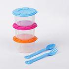 Набор контейнеров для хранения детского питания, 3 шт., столовые приборы в комплекте, цвета МИКС