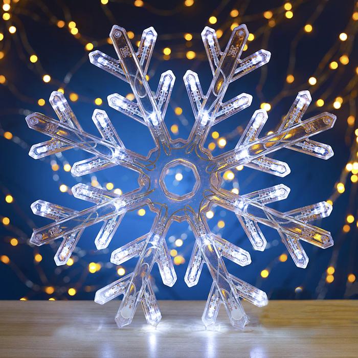 "Фигура ""Снежинка"" d=30 см, пластик, 40 LED, 220V, контрол. 8р. БЕЛЫЙ - фото 725194432"