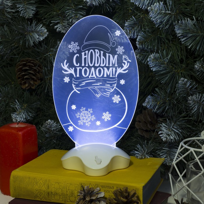 "Подставка световая ""Снеговик"", 24х11 см, SMD3528, ААА*3 (не в компл.), 7 LED, БЕЛЫЙ"