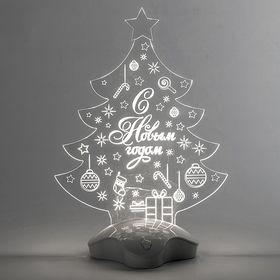 """Подставка световая """"Елка с подарком"""", 24х17 см, SMD3528, ААА*3 (не в компл.), 7 LED,Т/БЕЛЫЙ"""
