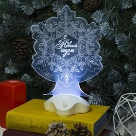 "Подставка световая ""Снежинка"", 22.5х19 см, SMD3528, ААА*3 (не в компл.), 7 LED, БЕЛЫЙ"