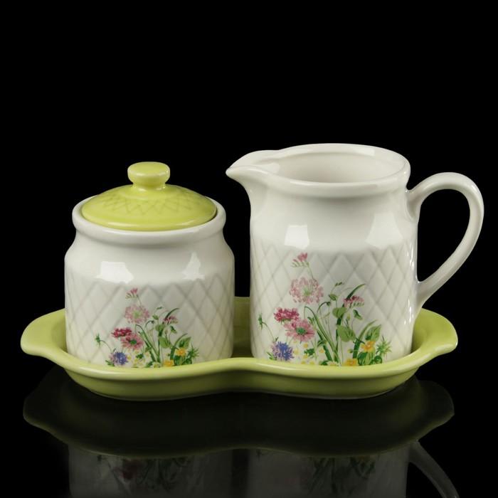 Набор посуды: молочник 325 мл, сахарница 250 мл, подставка 22,5х11,5х11,5 см