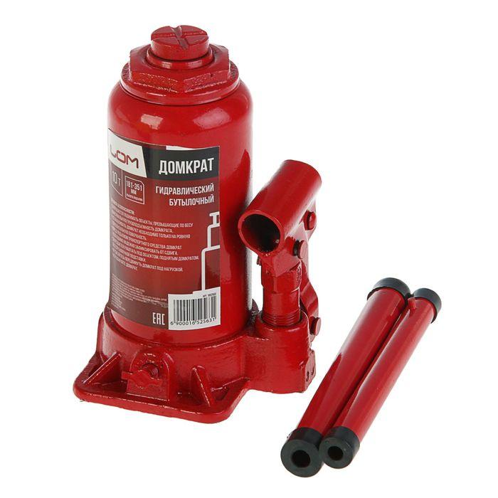 Домкрат гидравлический бутылочный LOM 10 т, высота подъема 181-370 мм