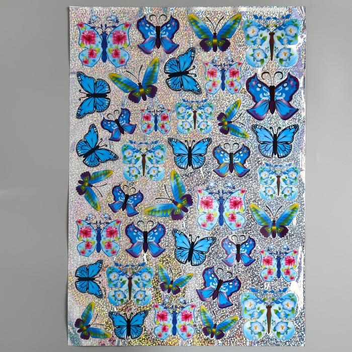 "Наклейка пластик 7D ""Рой бабочек"" МИКС 58х35,5 см - фото 1004427"