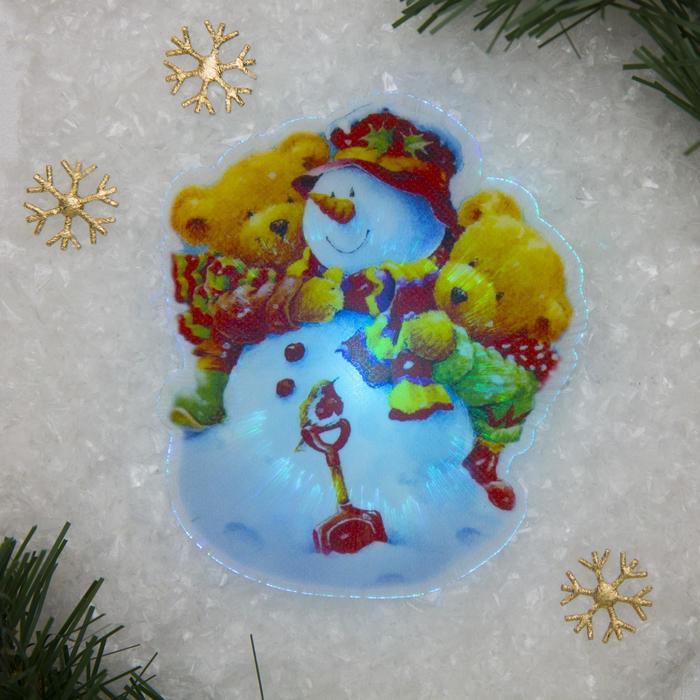 """Световая картинка на магните """"Снеговичок""""(батарейки в комплекте), оптоволокно, 1 LED, RGB"""