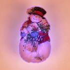"Световая картинка на прищепке ""Снеговик""(батарейки в комплекте), оптоволокно, 1 LED, RGB"