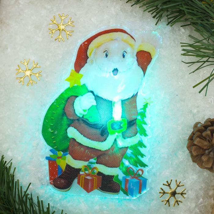 """Световая картинка на магните """"Дед Мороз приветствует!""""(батарейки в комплекте), 1 LED, RGB"""