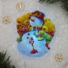 "Световая картинка на прищепке ""Снеговичок""(батарейки в комплекте), оптоволокно, 1 LED, RGB"