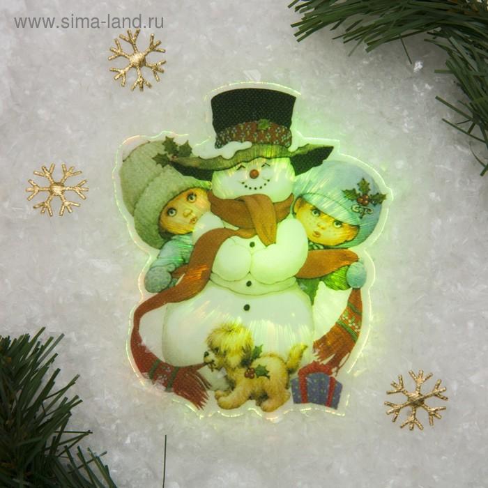 "Световая картинка на прищепке ""Снеговик с детьми""(батарейки в комплекте), 1 LED, RGB"
