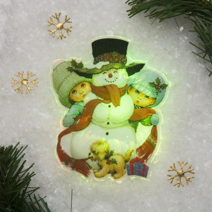 """Световая картинка на магните """"Снеговик с детьми""""(батарейки в комплекте), 1 LED, RGB"""