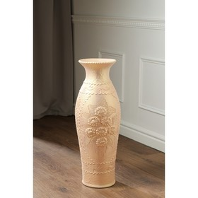 "Ваза напольная ""Эллада"", декор лепкой, белый цвет, 64 см, микс, керамика"