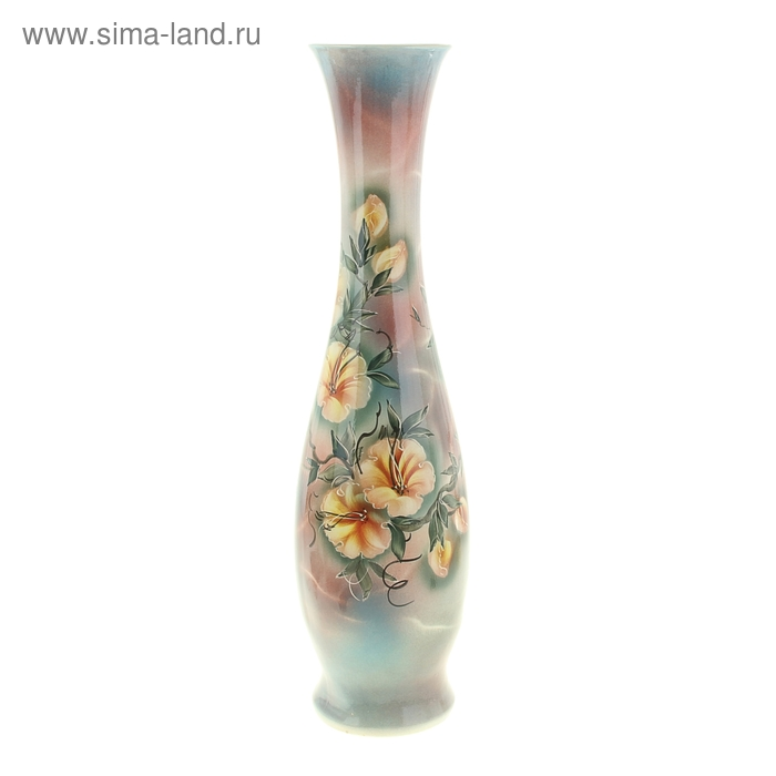 """Ваза напольная """"Грация"""" художественная роспись, сине-жёлтые цветы"""