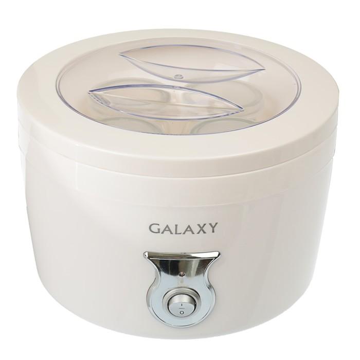 Йогуртница Galaxy GL 2695, 20 Вт, 0,4 л, 4 стеклянные емкости с крышками, белый