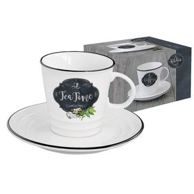 """Чашка с блюдцем """"Кухня в стиле Ретро"""", чай, в подарочной упаковке"""