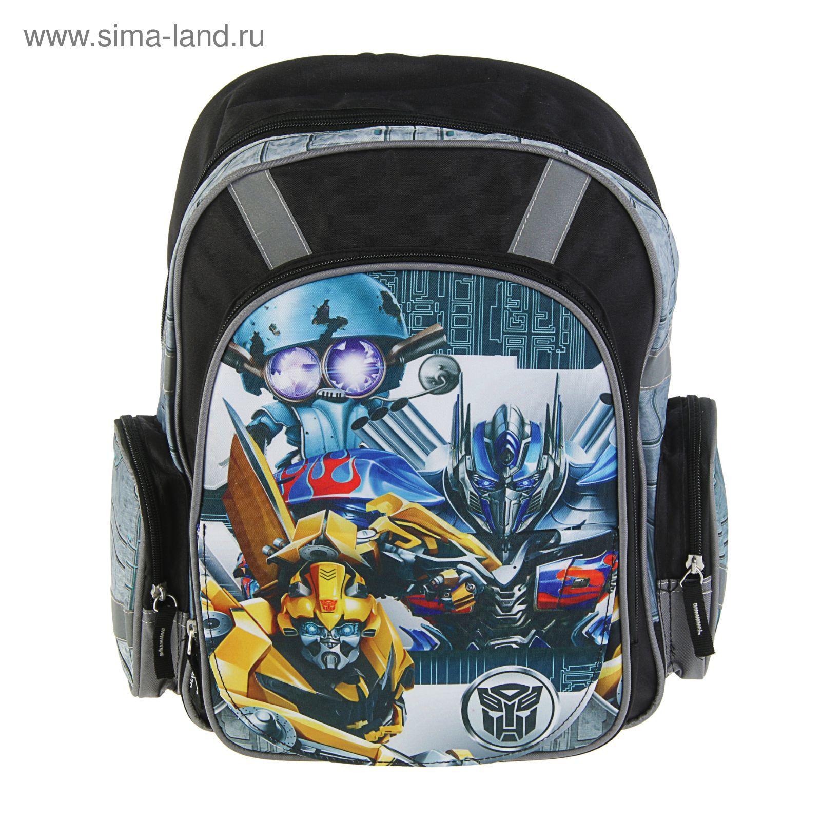 3a492540f774 Рюкзак школьный эргономичная спинка для мальчика Transformers Prime  38*29*13 серый TREB-