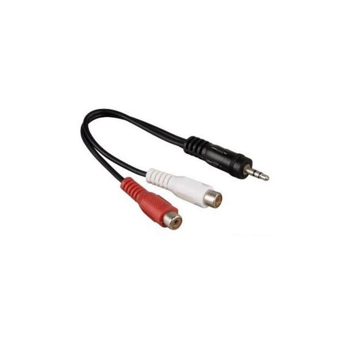 Адаптер аудио Hama H-43365 00043365, 2хRCA (f), Jack 3.5 (m), черный