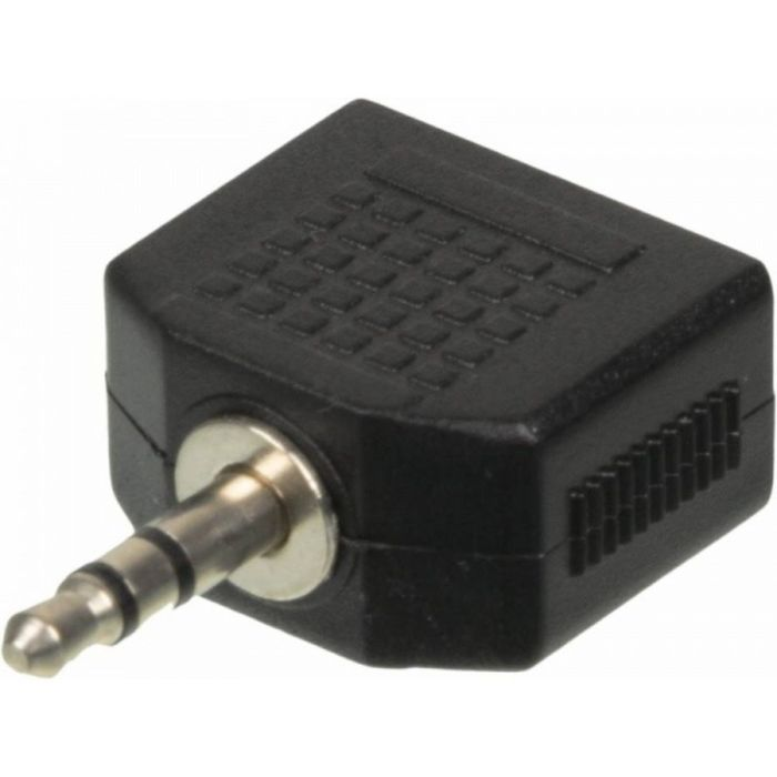 Адаптер аудио Ningbo JAAA095-B, 2xJack 3.5 (f), Jack 3.5 (m), черный