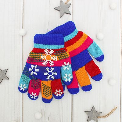 """Перчатки детские двуслойные Collorista """"Снежинки"""", размер 18 (р-р произв. 9), цвет синий"""