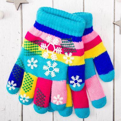 """Перчатки детские двухслойные Collorista """"Снежинки"""", размер 18, цвет голубой"""