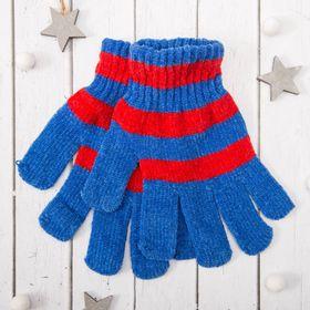 """Перчатки молодёжные """"Велюр"""", размер 16, цвет синий/красный 58971"""