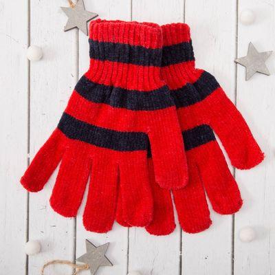 """Перчатки молодёжные """"Велюр"""", размер 16 (р-р произв. 8), цвет красный (ВИД 1) 58971"""