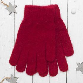 """Перчатки молодёжные """"Однотонные"""", размер 20, цвет красный 65486"""